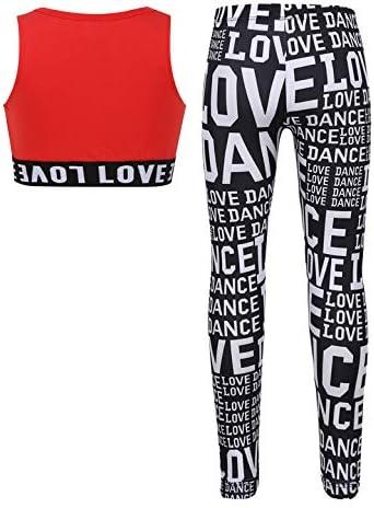 iixpin M/ädchen Sportwear Sport Kleidung Set Tanzen Workout Fitness Yoga Trainingsanzug Gr.110-164 Bustier Crop Top mit Lang Hose Leggings