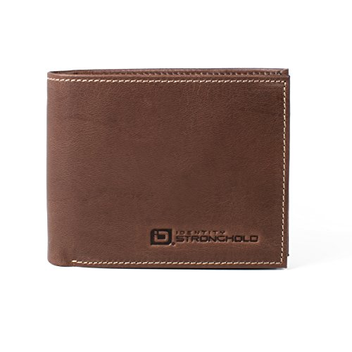 Men's Genuine Leather Bifold Wallet with Full RFID Protection Throughout - Exquisite Quality Rugged Leather (Quality Leather Brown)