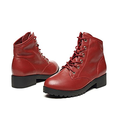 Woman's Martin boots spring and autumn genuine leather short boots locomotive trend shoes ( Color : Red , Size : US:5.5\UK:4.5\EUR:36 )
