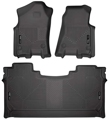 Husky Liners 94001 Black Weatherbeater Front & 2nd Seat Floor Mats Fits 2019 Dodge Ram 1500 Crew Cab with factory storage box