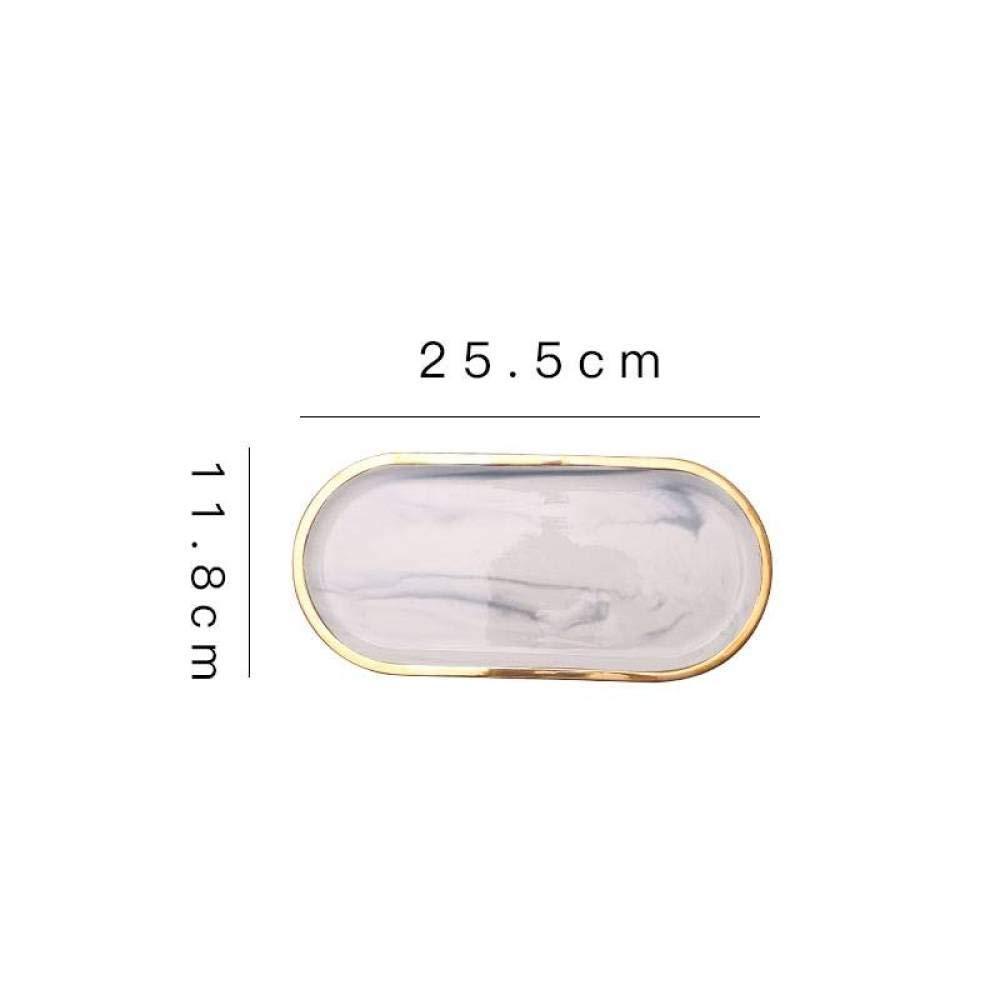Marmor-Beh/älter-Speichersalver f/ür Schmuck-kosmetische Lippenstift-Lagerung Geschirr-Teller f/ür Fr/ühst/ück Dekoration f/ür Foto