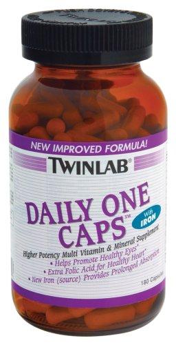 Twinlab Daily One Caps multi-vitamines et minéraux avec fer, 180 capsules