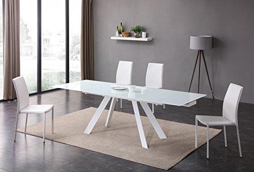 Tavolo In Vetro Bianco Allungabile.Meubletmoi Tavolo Allungabile In Vetro Bianco 160 240 Cm