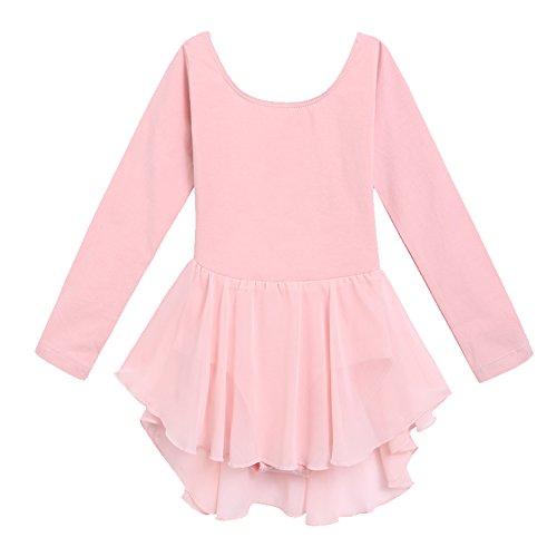 Arshiner Kids Girls Classic Long Sleeve Leotard Dance Ballet Dress  Light Pink  130 Light Pink 130 Age for 4 5Y