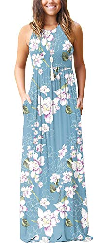 Aqua Floral Women Sleeveless Tunic Vintage Summer Casual Maxi Long Dress Pocket