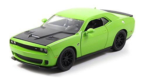 Jada Big Time Muscle 2015 Dodge Challenger SRT Hellcat 1/24 Scale Diecast Model Car Green (Display Version No Retail Box) Version Diecast Car Model
