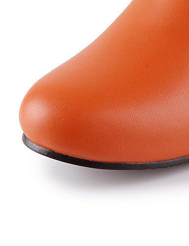 XZZ/ Damen-Stiefel-Outddor / Büro / Lässig-Kunstleder-Keilabsatz-Wedges / Modische Stiefel-Schwarz / Braun / Weiß / Orange brown-us4-4.5 / eu34 / uk2-2.5 / cn33