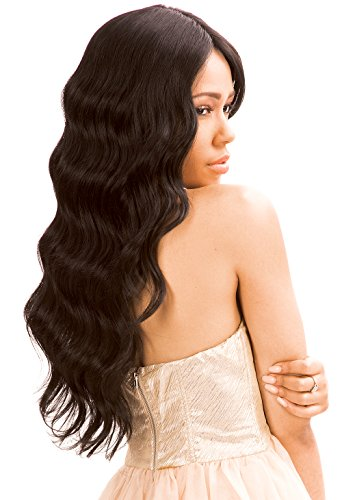 New Born Free Human Hair Blend Lace Front Wig Magic Lace U-Shape Lace Wig MLUH94 (1B) … (Magic Wig)