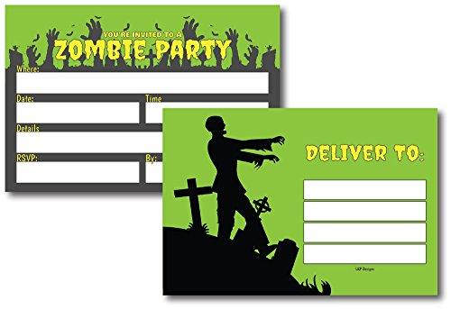 50 Green & Black Zombie Halloween Invitations Postcards