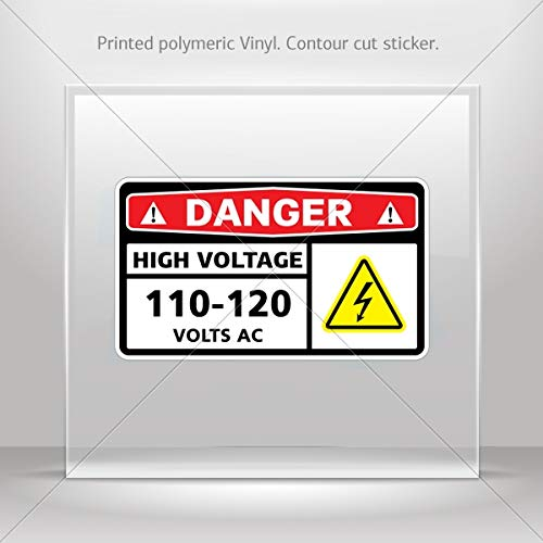 Danger High Voltage Tabs - Signs Various sizes Decals Stickers Danger High Voltage 110-120 Volts Ac Tablet Laptop Wat (3 X 1.74 Inches)