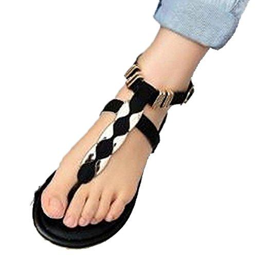Minetom Stile Semplice Donne Infradito Belle Sexy Basse Piatte Cinghia Flats Pantofole ( EU 37 )