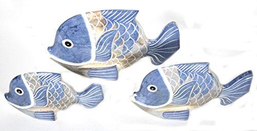 BEAUTIFUL UNIQUE SET OF 3 BLUE WOODEN FISH HAND CARVED STATUE SCULPTURE ART