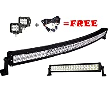 Led Light Bar,Serpeo 42 Inch 240W Curved LED Light Bar Flood Spot Combo Beam IP68 Waterproof Driving Light with a 120W Straight Led Light Bar and 2 Pcs 18W Led Lights for Off-road Truck Car ATV SUV Jeep Boat 4WD