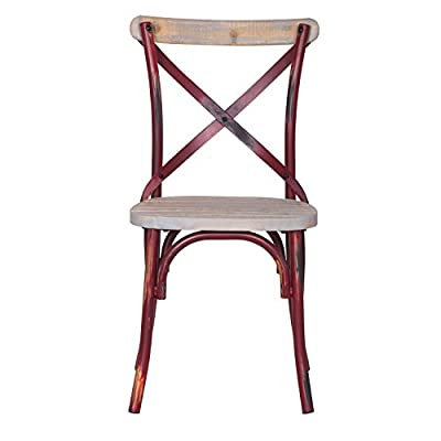 Adeco Metal Chair with Cross Style Back, Solid Elm Wood Dining Side Chair, Red - Material: Steel Frame in Rustic, Distressed Coating/Painting Overall Dimensions: 19.7W*20.5 D*35 H,seat height:18.5,seat wide:17,seat deep:16 A Perfect touch of Vintage Industrial Modern Look to your Kitchen Island or breakfast counter, Patio, Play Room, restaurant - kitchen-dining-room-furniture, kitchen-dining-room, kitchen-dining-room-chairs - 417F8pmSmCL. SS400  -