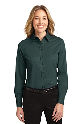 (Port Authority Women's Long Sleeve Easy Care Shirt 3XL Dark Green/Navy)