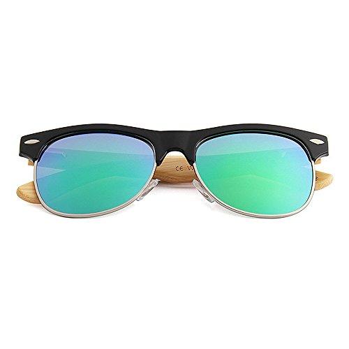KOMEISHO Protection UV Femmes Couleur Bleu En Lentille Hommes Polarisées Rimless Décoration Semi Lunettes Soleil Pour Bambou Miroir Rivet De Vert r7wZ4qxnra