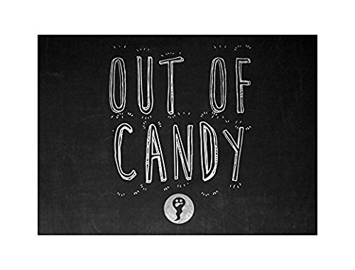 Out Of Candy Print Ghost Picture Chalkboard DeSticker Sign for Business Wall Window Any Smooth Surface Large Halloween Seasonal Decoration Sticker Sign for Business Wall Window Any Smooth Surface
