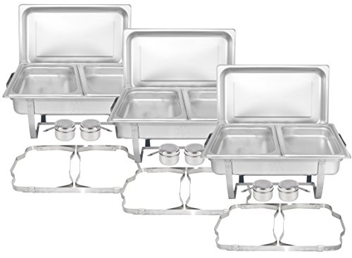 Tiger Chef 3-Pack 8 Quart Full Size Stainless Steel Chafer with Folding Frame and 2 Half Size Chafing Food Pans and Cool-Touch Plastic Handle by Tiger Chef