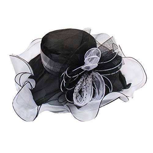 WENSY Retro Kentucky Derby Church Hats for Women Dress Wedding Hat Organza Feather Flower Fashion Hat Foldable Sun Hat
