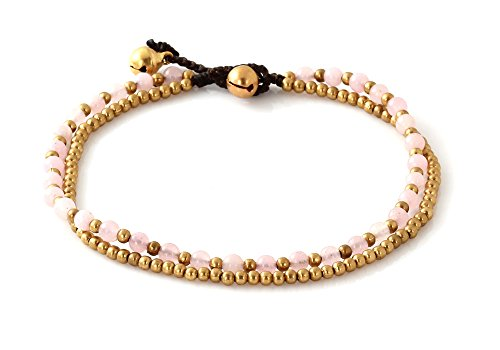 MGD, Pink Rose Quartz Color Bead and Brass Bell Anklet. 2-strand Anklets Beautiful Handmade Brass Anklet. Small Anklets. Ankle Bracelet. Fashion Jewel…