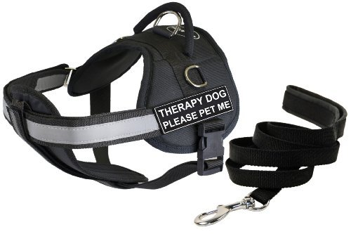 Dean & Tyler Therapy Dog Please Pet Me Harness with Padded Puppy Leash, X-Small, Black by Dean & Tyler
