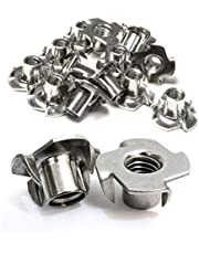"""Stainless T-Nuts, 1/4""""-20 Inch, (25 Pack), Threaded Insert, Choose Size/Quantity, by Bolt Dropper, Pronged Tee Nut. (1/4""""-20 x 7/16"""")"""