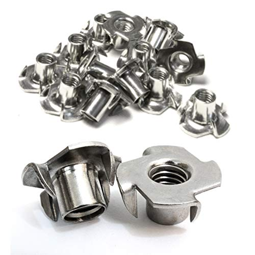 Stainless T-Nuts, 1/4''-20 Inch, (25 Pack), Threaded Insert, Choose Size/Quantity, by Bolt Dropper, Pronged Tee Nut. (1/4''-20 x 7/16'') by Bolt Dropper