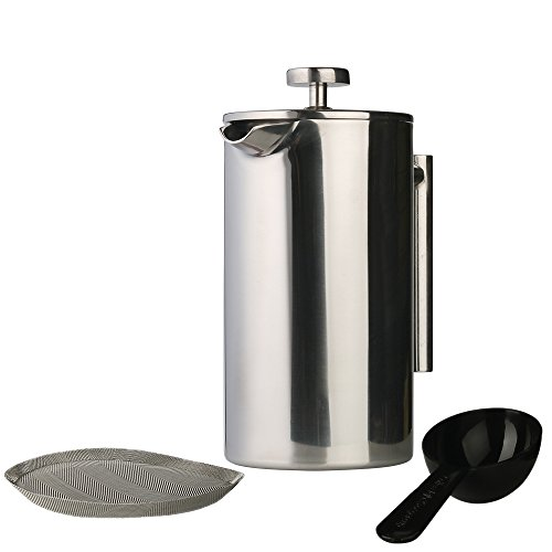 Revyve Double Wall, Stainless Steel French Coffee Press (8 Cups, 34 Ounces)