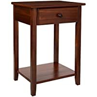 Casual Home 647-24 Night Owl Nightstand USB Ports-Warm Brown