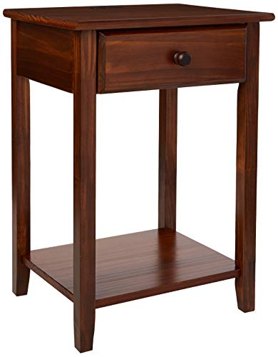 Casual Home Night Owl Nightstand with USB Ports-Warm Brown (Wood Table Bedside)