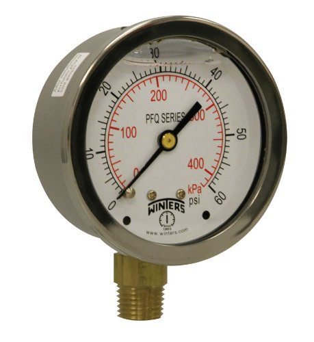 (Winters PFQ Series Stainless Steel 304 Dual Scale Liquid Filled Pressure Gauge with Brass Internals, 0-60 psi/kpa,2-1/2