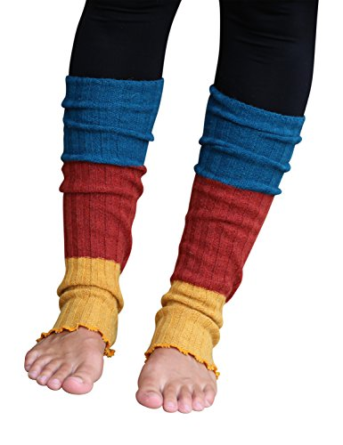 Lucky Love (TM) Striped Multicolor Reversible Knit Leg Warmers Women]()