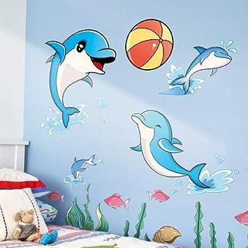 Creativo De Dibujos Animados De Delfines Etiqueta De La ...