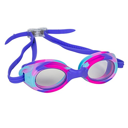 Kids Swim Goggles for Boys and Girls - Adjustable Straps, Silicone Eye Seal, UV Protection and Anti Fog Lenses Swimming Goggle - Purple Tie Dye - by - Clean How To Goggles Swimming