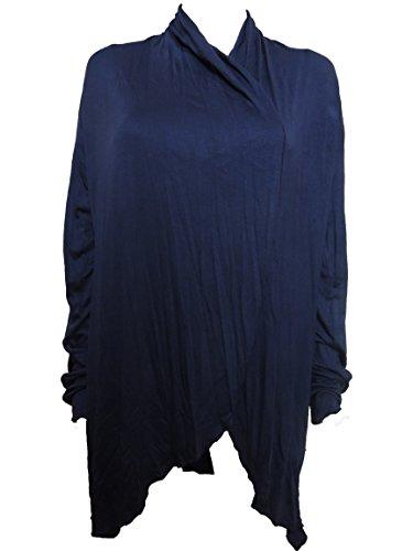 10 Farben Lange Damen Jacke, Gr. 42 44 46 48 50 52 54 Dunkelblau