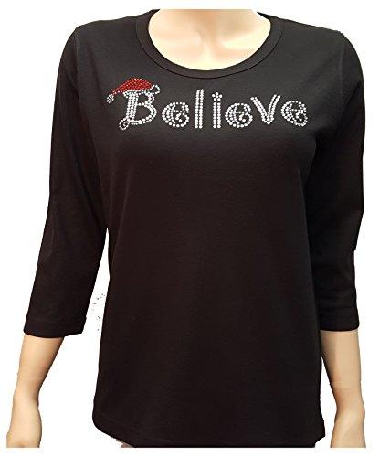 Ladies Scoop Neck Rhinestone Tee (Christmas Believe Rhinestone Bling Cotton/Poly Scoop Neck Black Shirt (L))