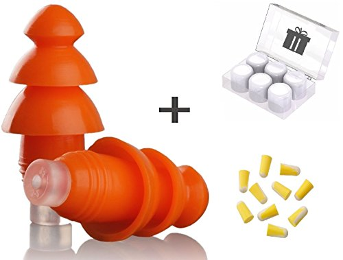 Noise Cancelling Ear Plugs By EarJoy - For sleeping swimming musicians. Earplugs sound blocking. Reusable. For concerts shooting swim sleep. Silicone base. Best sound (Fitting Ear Plugs)