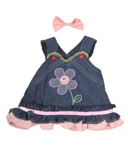 Softest Toy Bow (Summer Denim Dress w/Bow Teddy Bear Clothes Outfit Fits Most 14