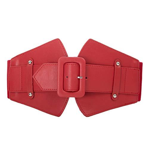 Stylish Metal Buckle Elastic Waist Cinch Belt Chunky Belt (S,Red013-2)