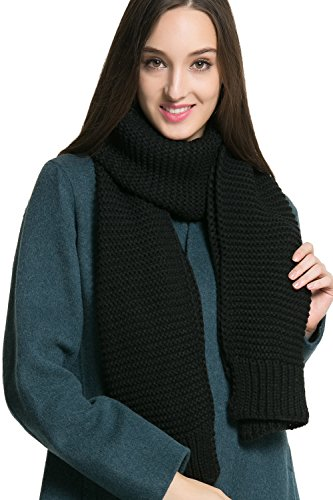 Women Men Winter Thick Cable Knit Wrap Chunky Warm Scarf All Colors Black