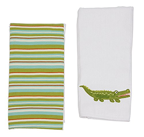 (Maison Chic Double Burp Cloth Gift Set, Gary The Gator )