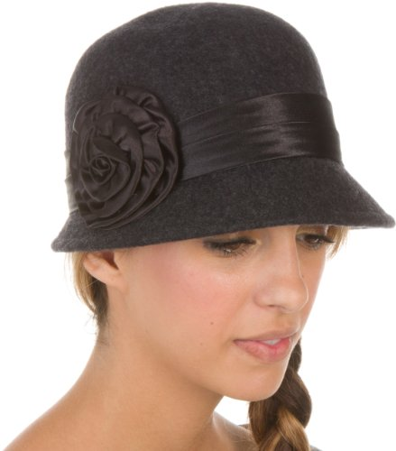 EH2941LC - Sakkas Womens Vintage Style 100% Wool Cloche Bucket Bell Winter Hat with Satin Flower Accent - Charcoal/One Size