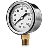Renator M11-0504T Oil-Filled Water Pressure Gauge. 0-160 PSI. 1/4' NPT.