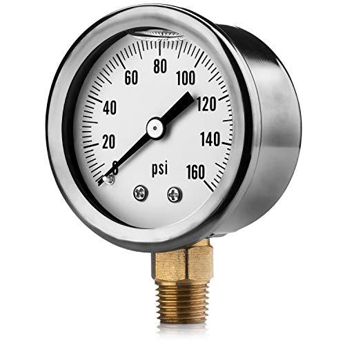 Renator M11-0504T Oil-Filled Water Pressure Gauge. 0-160 PSI. 1/4