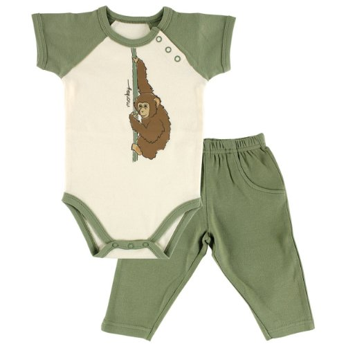 Hudson Baby Organic Bodysuit and Pant Set, Green, 0-3 Months