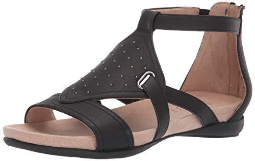 SOUL Naturalizer Women's AVONLEE Flat Sandal, Black, 8 M US