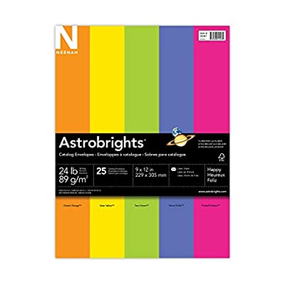 "Astrobrights Color Paper Envelopes, 9"" x 12"", ""Happy"" 5-Color Assortment, 25 Catalog Envelopes"