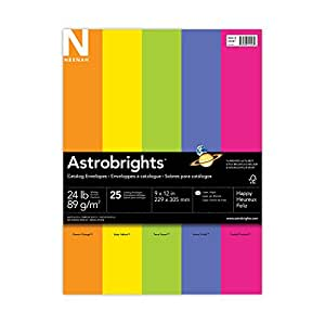 Neenah Astrobrights Envelope Assortment, Assortment 2, 25 Count, 9 X 12 Inches (20247)