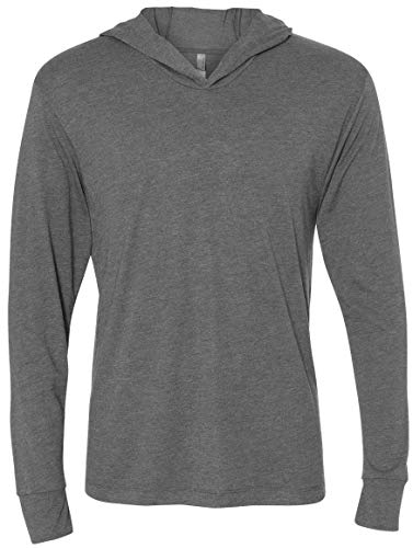 Yoga Clothing For You Mens Triblend Lightweight Hoodie Tee Shirt (Mens Medium, Premium Heather Grey)