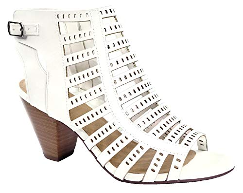 City Classified Open Toe Perforated Lace up Elastic Side Stacked Chunky Heel Sandal, Off White, ()